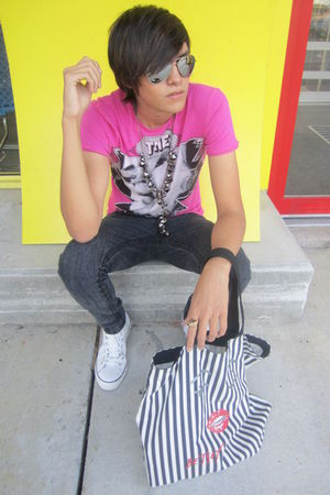 pink Zara shirt - gray Forever 21 jeans - white Converse shoes - silver thrifted