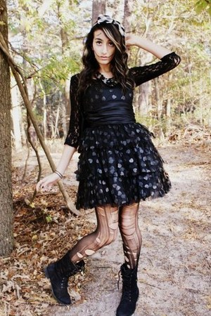 black Betsey Johnson dress - black Wanted boots