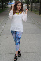 sky blue H&M leggings - black shoemint heels