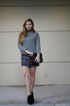 embellished Zara sweater - Alexander Wang bag - Zara skirt - shoemint wedges
