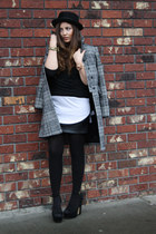 black H&M sweater - charcoal gray Zara coat - black Sparkle&Fade skirt