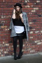 black H&M sweater - charcoal gray Zara coat - black Sparkle&Fade skirt