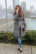 heather gray Zara coat - sky blue Zara jeans - salmon Aldo bag