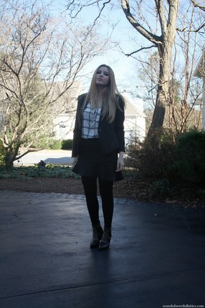 black H&M blazer - black Choies boots - white Zara blouse - black Zara skirt
