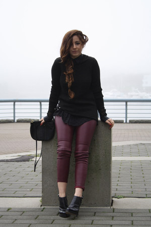 black Zara sweater - black Fossil bag - crimson H&amp;M pants