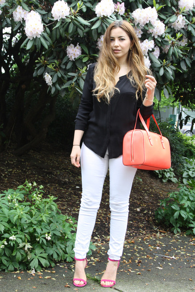 white American Eagle jeans - coral Kate Spade NY bag - pink shoemint heels