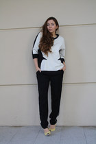 white Zara sweatshirt - black Zara pants - light yellow Zara heels