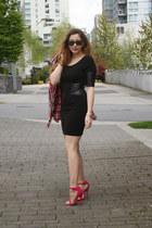 flannel Enegry shirt - Zara dress - shoemint heels