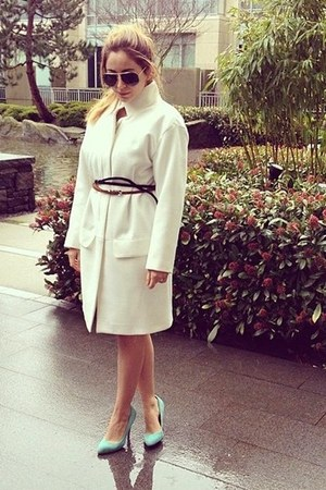 white Zara coat - black Nasty Gal belt - aquamarine Aldo heels