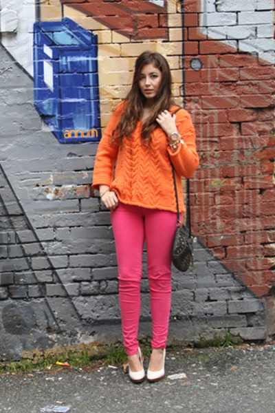 carrot orange DIY sweater - hot pink Zara jeans - black Fossil bag