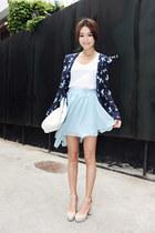navy Style Nanda jacket - white giordano t-shirt - light blue Style Nanda skirt