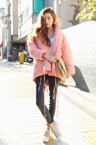 bubble gum coat - gray jeans - white shirt - nude bag