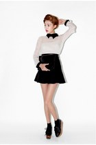 black nanda girl shoes - black skirt - off white Style Nanda blouse