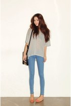 sky blue pants - silver shirt