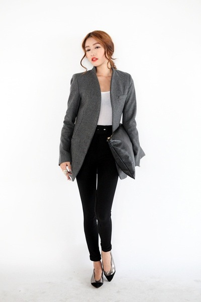 Perfect Grey Blazer Outfit On Pinterest  Gray Blazer Grey Blazer Black Pants