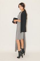 silver dress - black cardigan