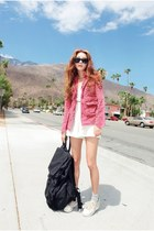 bubble gum Style Nanda jacket - ivory high waisted Style Nanda shorts