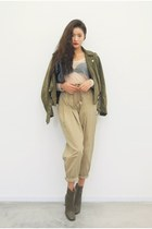 olive green jacket - dark khaki pants
