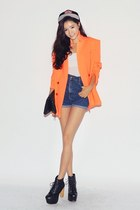 light orange blazer - navy shorts