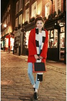 red coat - black shoes - sky blue jeans - white shirt - ivory scarf