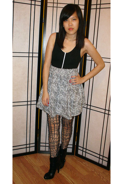 American Apparel top - skirt - tights - Miss Sixty boots