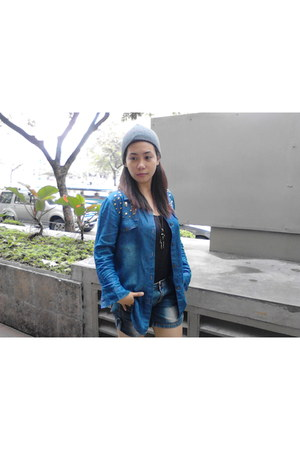 denim from bangkok top - Hush Puppies shoes - bonnet Borrowed from sister hat