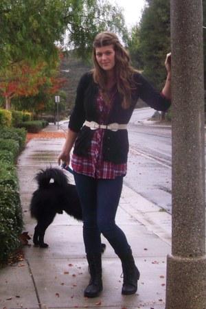 black gojanecom boots - ruby red Charlotte Russe shirt - navy Walmart jeans - iv