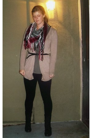 red le chateau scarf - black GoJane boots - black Walmart leggings