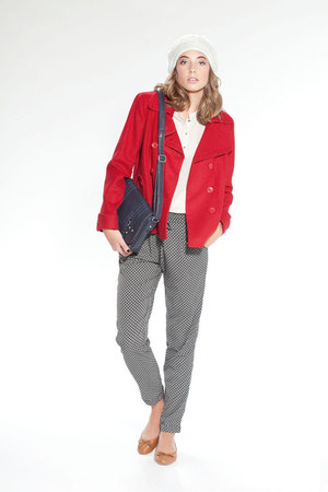 red jacket - heather gray hat - red bag - heather gray flats - burnt orange top