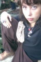 birdie necklace - lace up oxfords boots - make up bag bag - old ring