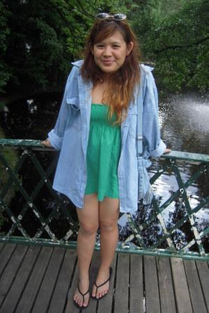 green Promod shirt - sky blue oversized jeans Anvil jacket - black H&M sandals
