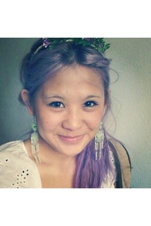 light purple hair Hair accessories - green flowers handmade headband accessories