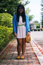 yellow Tommy Hilfiger bag - cream Forever 21 dress - blue surplus shop cardigan