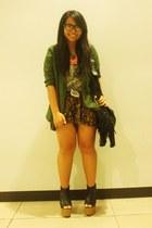 black wedges - green Zara blazer - dark brown Forever 21 shorts
