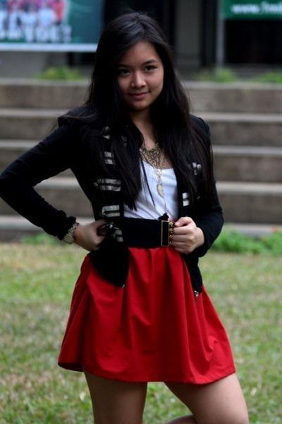 white Topshop shirt - red DIY skirt - black From HK jacket - blue Zara shoes - g