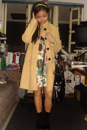 from Korea coat - SM dress - Bazaar belt - school shoes - Dept Store socks - Top
