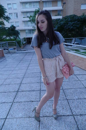 pink Ebay necklace - pink Lefties bag - light pink lace H&M shorts