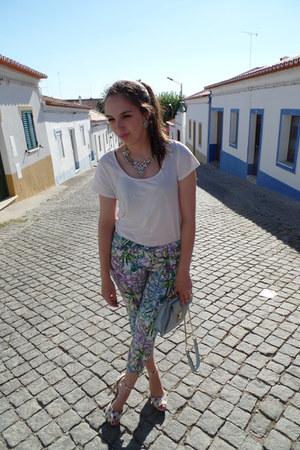 white Modalfa t-shirt - sky blue Zara bag - cream leopard Zara heels