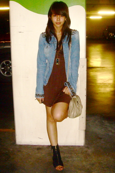 Mango jacket - brown dress - black Zara - gold H&M