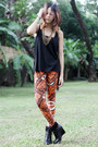 Black-charles-keith-boots-orange-printed-apartment-8-leggings