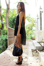 Aldo wedges - black Fendi bag - black American Apparel shorts