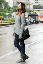 silver oversized Zara sweater