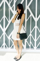 black vintage lanvin bag - ivory Topshop dress - black Michael Kors flats