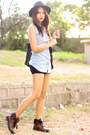 Brown-palladium-boots-black-bottega-veneta-bag-black-g-by-guess-shorts