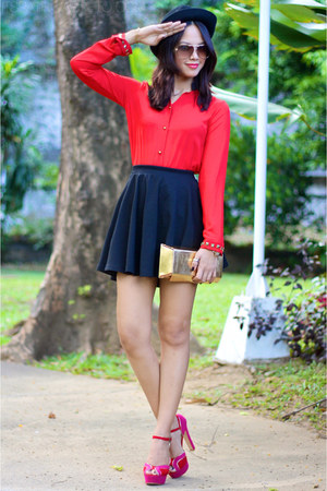 black cotton on skirt - red holiday apartment 8 top