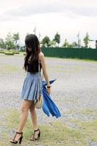 brown Zara heels - gold H&M bag - light blue H&M skirt - black tank H&M top