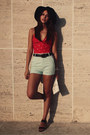 Light-blue-stradivarius-shorts-red-old-navy-swimwear-black-topshop-sandals