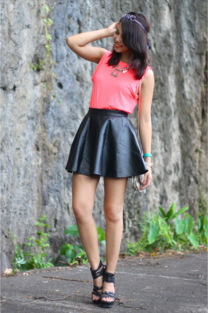 black leather Sheinside skirt - hot pink dress turned H&amp;M top