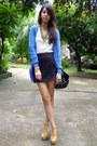 Blue-forever-21-cardigan-black-studded-parisian-bag