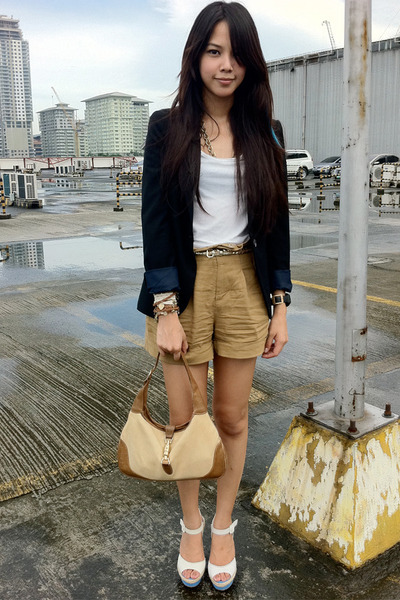 tan Gucci bag - black Zara blazer - brown paper bag Forever 21 shorts